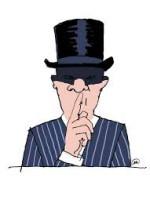 Tekening man met hoge hoed die gebaart  een geheim te bewaren.