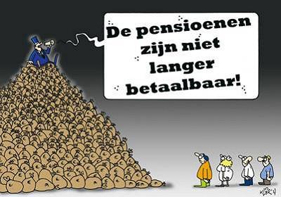 Kapitalist op een berg geld roept pensioenen zijn niet meer betaalbaar